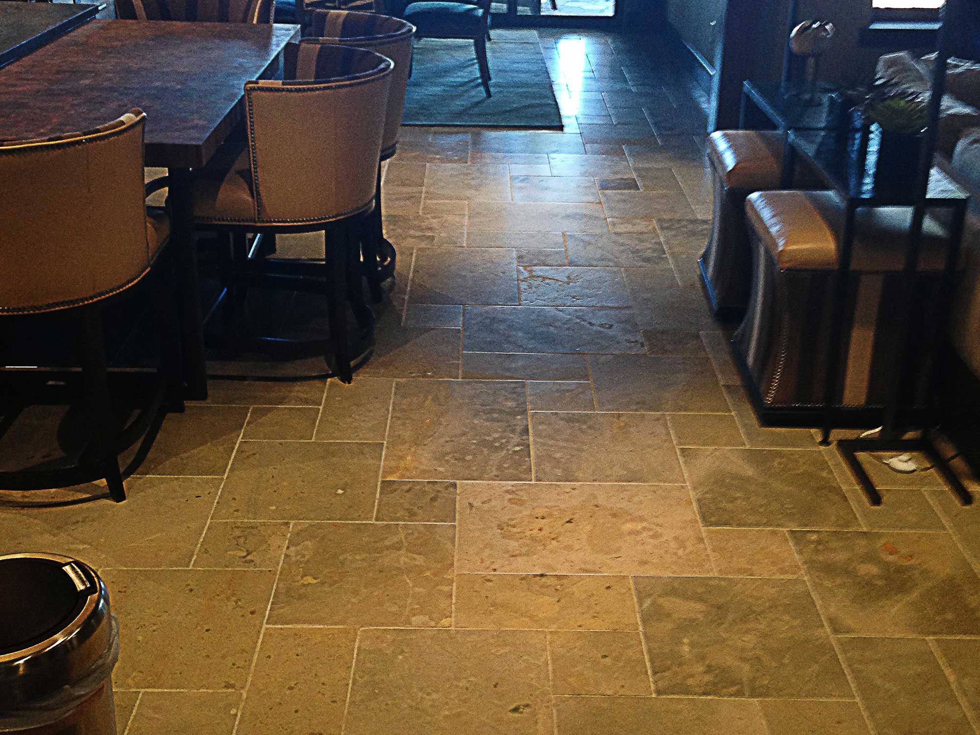 Whaley custom tilestaggered travertine floor whaley custom tile dailygadgetfo Images